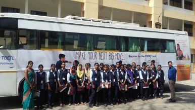 Aspirants leaving the TOEFL van at Valia Koonambaikulathamma College of ...